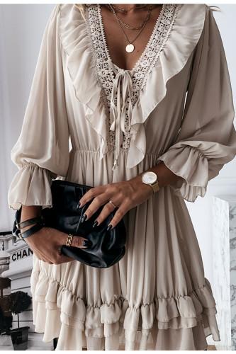 Women's Chiffon Dress Long Sleeve Ruffle V Neck Dress