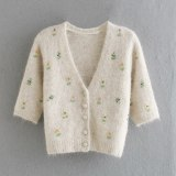 Women Embroidery Beaded Knitted Cardigan Button Down Cardigan