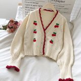 Embroidered Cardigans Puff Sleeve Cherry Sweaters