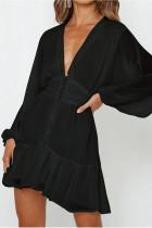 V Neck Lace Long Sleeve Mini Party Dress