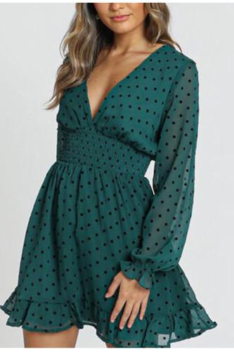 Polka Dot Long Sleeve Dress Emerald Chiffon Dress