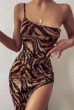 Leopard Print Bodycon Dress High Split Dress