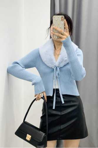 Ribbed Knitted Cardigan Fur Trim Collar Lace Up Cropped Jumpers