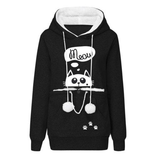 Women's Pullover Sweatshirt Animal Pouch Hood Tops