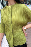Casual BAT Sleeve Shirt Pleated Stand Collar Tops Blouse