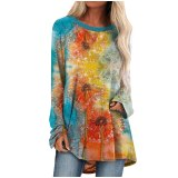 Women's Blouse Painting Print long sleeve loose Pullover