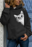 Womens Cat Printed Sweaters Long Sleeve Pullovers