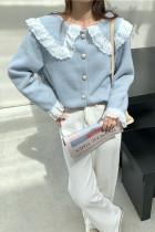 Woman Jacket Solid Peter Pan Collar Cute Lace Cardigan