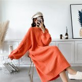 Woolen Mohair Blended Knitted Sweater Dresses Women's Pullover Sweater