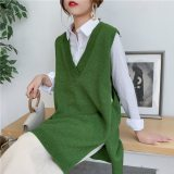 Women Seelveless Sweater Vest V-neck Knit Streetwear Sweater