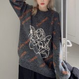 Women's Oversized Knitted Sweater Long Sleeve Loose Sweater