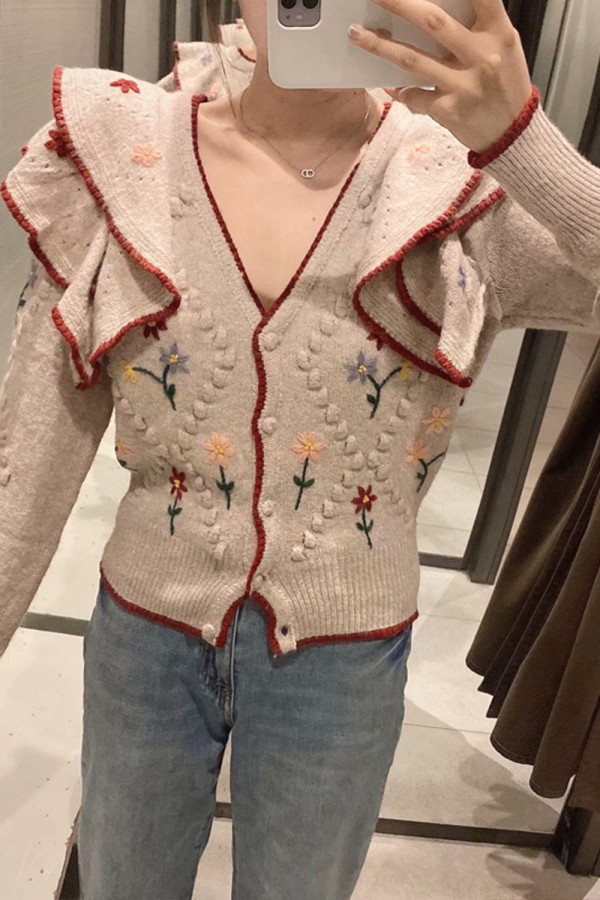 Embroidered V-neck Knitted Sweater Ruffled Long-Sleeve Cardigan