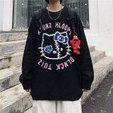 Harajuku Women's Pullover Sweater Cartoon Cat Print Loose Sweater