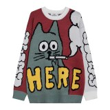 Women Funny Cat Print Oversize Pullover Sweaters