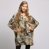 Cats Print Sweater Dresses Winter Oversized Pullover