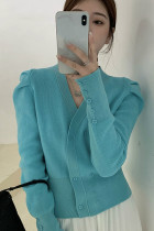 Women Puff Long Sleeve Sweater V-neck Knitted Cardigan
