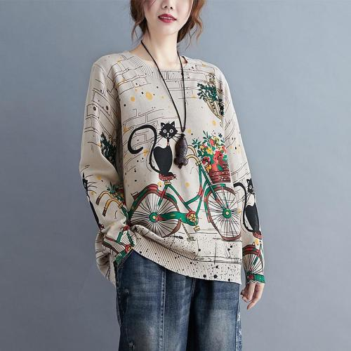 Cat Print Sweater Jumper Pullovers Knitted Sweaters