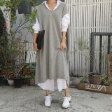 Long Vest Sweater Over Knee Bat Sleeve Sweater Dress