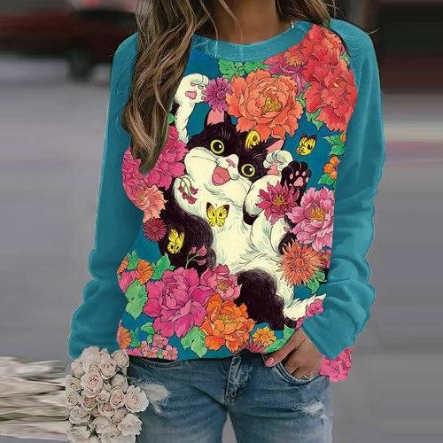 Women's Pullover Sweater Casual Round Neck Sweatshirts