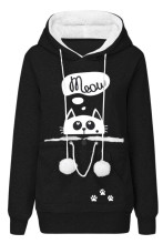 Women's Pullover Sweatshirt Animal Pouch Hood Tops