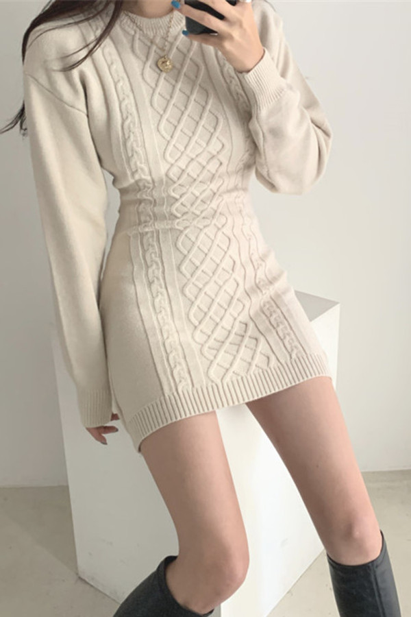 Hollow Out Bodycon Sweater Dress Twist Knitted Mini Dress