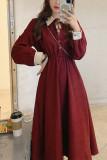 Women Vintage Long Sleeve Elegant Dress