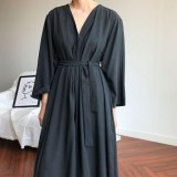 Women Spring Lace Up Casual Oversize Maxi Dress
