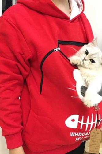 Women's Hooded Sweatshirt Cat Print Pullover Tops