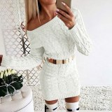 Sexy Bodycon Sweater Dress Women Casual Knitted Mini Dress