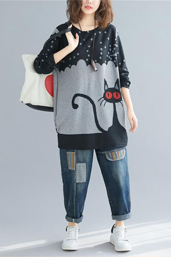 Cat Print Tshirt Women Knitted Cotton Graphic Tees