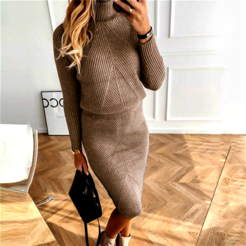 Knitted Turtleneck Sweater and Skirts 2 Piece Sets