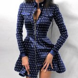 Women's PU Houndstooth Print Lace Patchwork Mini Dresses