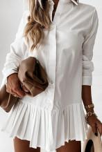 Pleated Shirt Dress Casual Turn Down Collar Mini Dress