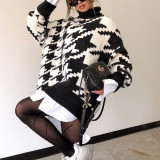 Oversized Knitted Sweater Dress Turtleneck Mini Dresses