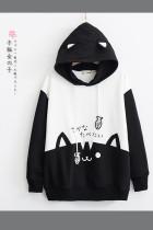 Women Cat Print Sweatshirt Casual Hooded Pullover