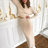 Knitted Sweater and Skirt Two Piece Set