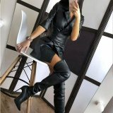 Women's Pure Faux Leather Jacket-Dress With Belt