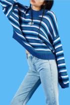 Harajuku Striped Pullover Women Oversized Sweater
