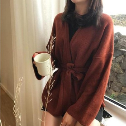 Casual Full Sleeve Loose Knitted Sweater Cardigans