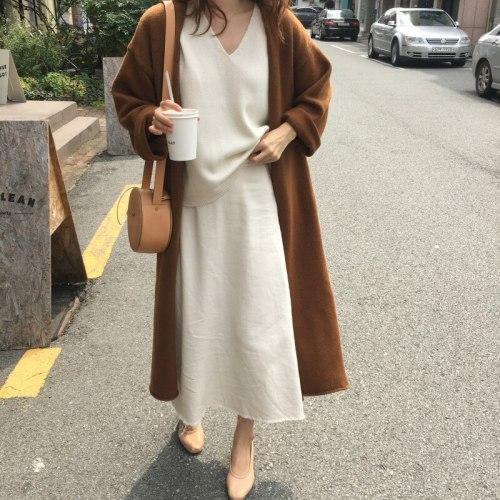 Women's Sweater Split Lace Up Oversize Long Cardigans