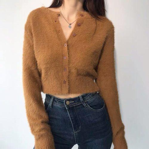 Round Collar Stylish Knitting Cardigan Shaggy Sweater