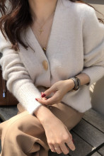 Women Mink Cashmere Cardigan Sweater