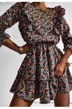 Women A-Line Flower Print Vintage Dress Long Sleeve Ruffle Mini Dress