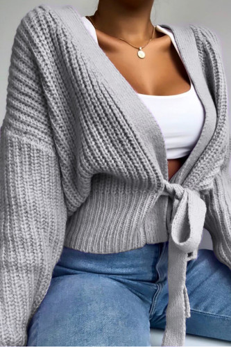 Women's Lace Up Bow Sweater Lattern Sleeve Loose Cardigan