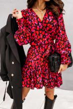 Elegant Lantern Sleeve Wrap Mini Dress