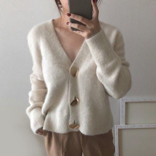 Women Mink Cashmere Cardigan Sweater