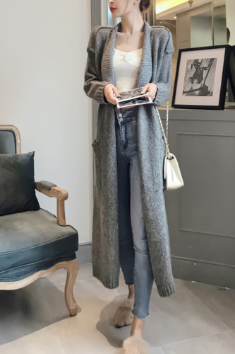 Women's Elegant Lace Up Sweater Oversize Long Cardigans