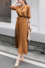 Elegant Long Sleeve V-neck Office Lady Pleated Dresses