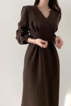 Minimalist Maxi Dress Elegant V-neck Long Sleeve Dresses