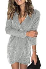 Women Bodycon Mini Dress Deep V-Neck Sequin Glitter Party Dress